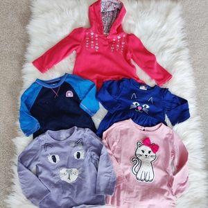 Bundle of 2T girls cat motif shirts